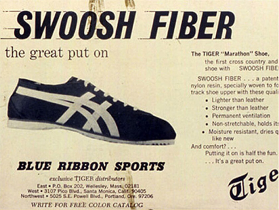 onitsuka tiger and blue ribbon sports advertisement for the tiger cortez shoes