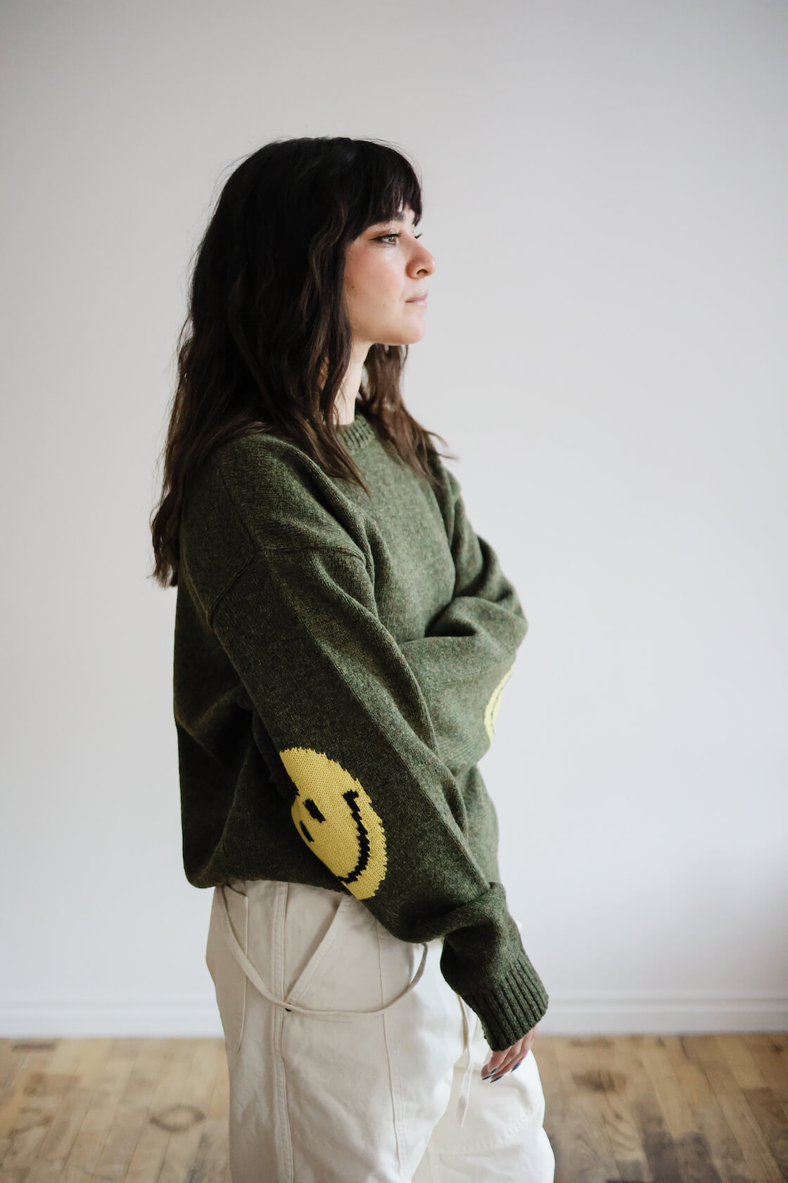 kapital light canvas welder overalls and smilie sweater on body