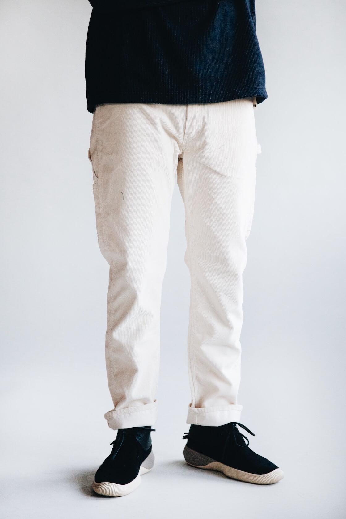tss raglan sleeve crewneck shirt and orslow canoe club painter pants and visvim shoes on body