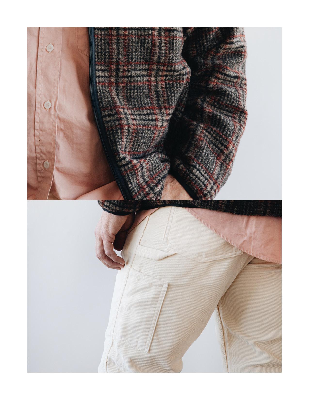 needles plaid jacket, orslow utility work shirt, canoe club x orslow painter pant on body