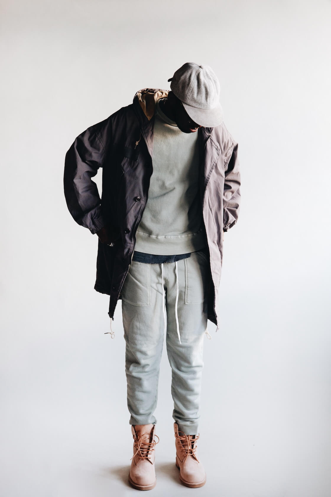 hender scheme wool cap, visvim patterson overcoat, velva sheen freedom sweatshirt, velva sheen army gym sweatpants and hender scheme mip-14 shoes on body