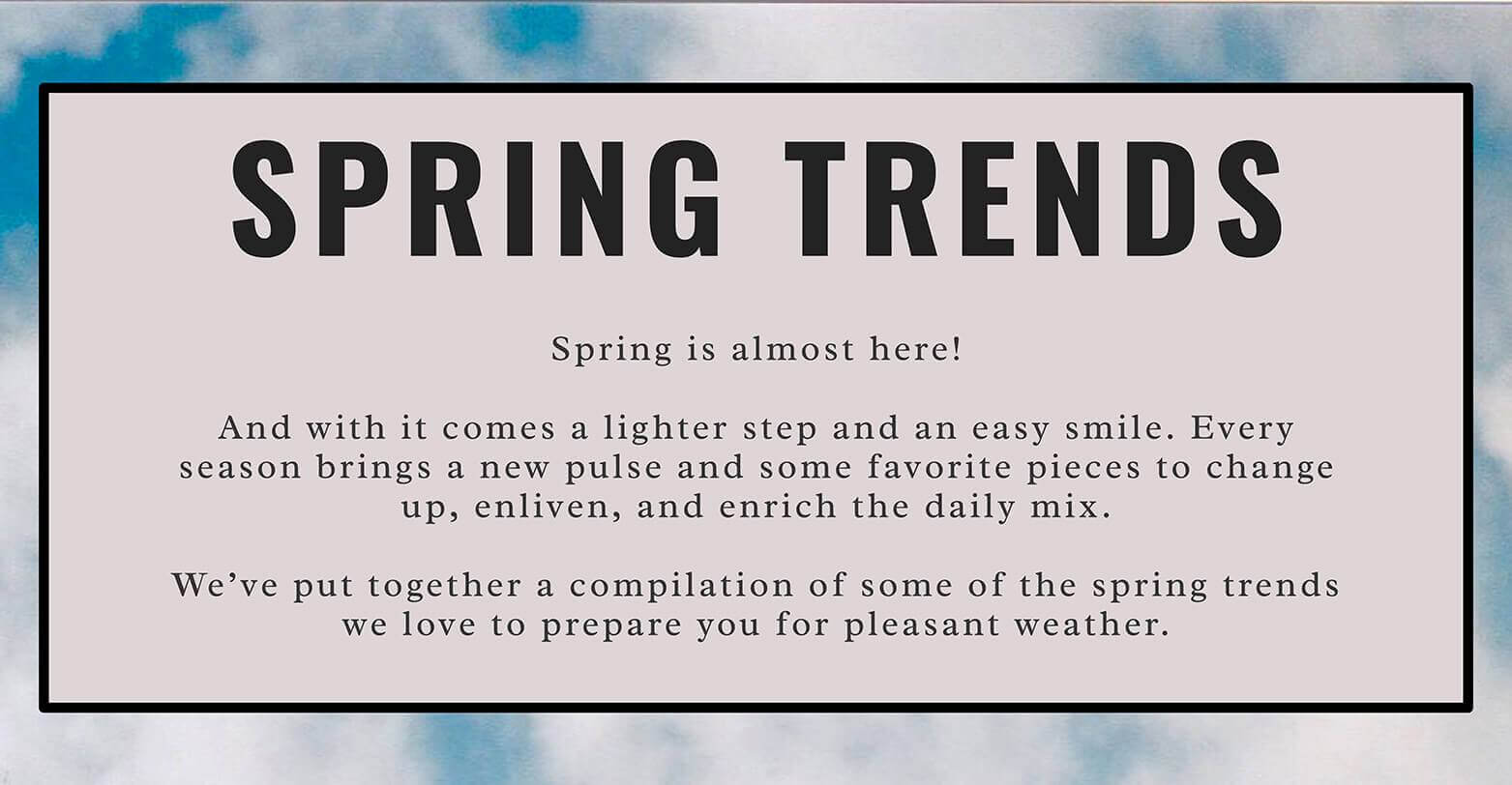 spring trends introduction