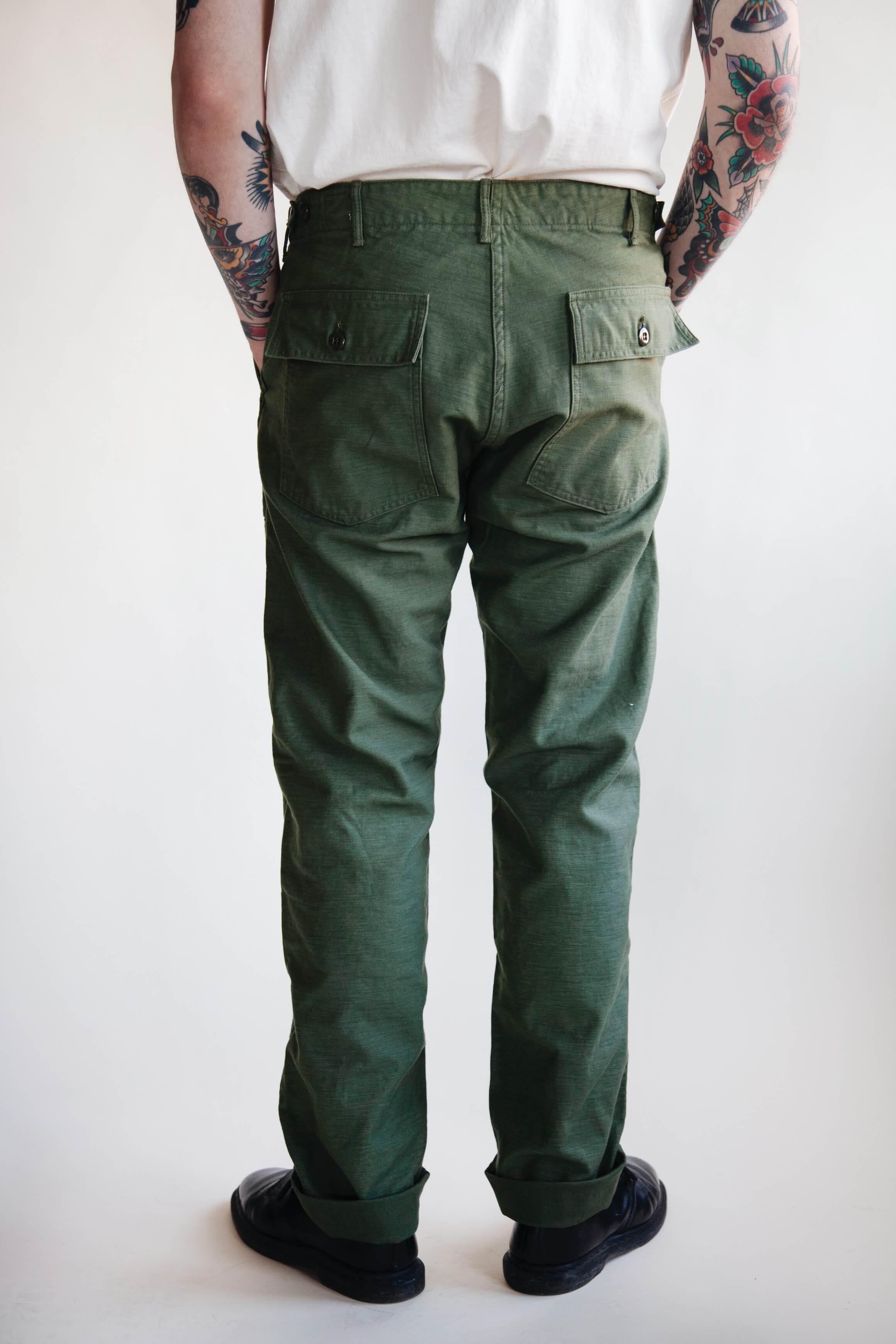 orslow Slim Fit Fatigue Pants - Olive Reverse Sateen on male model