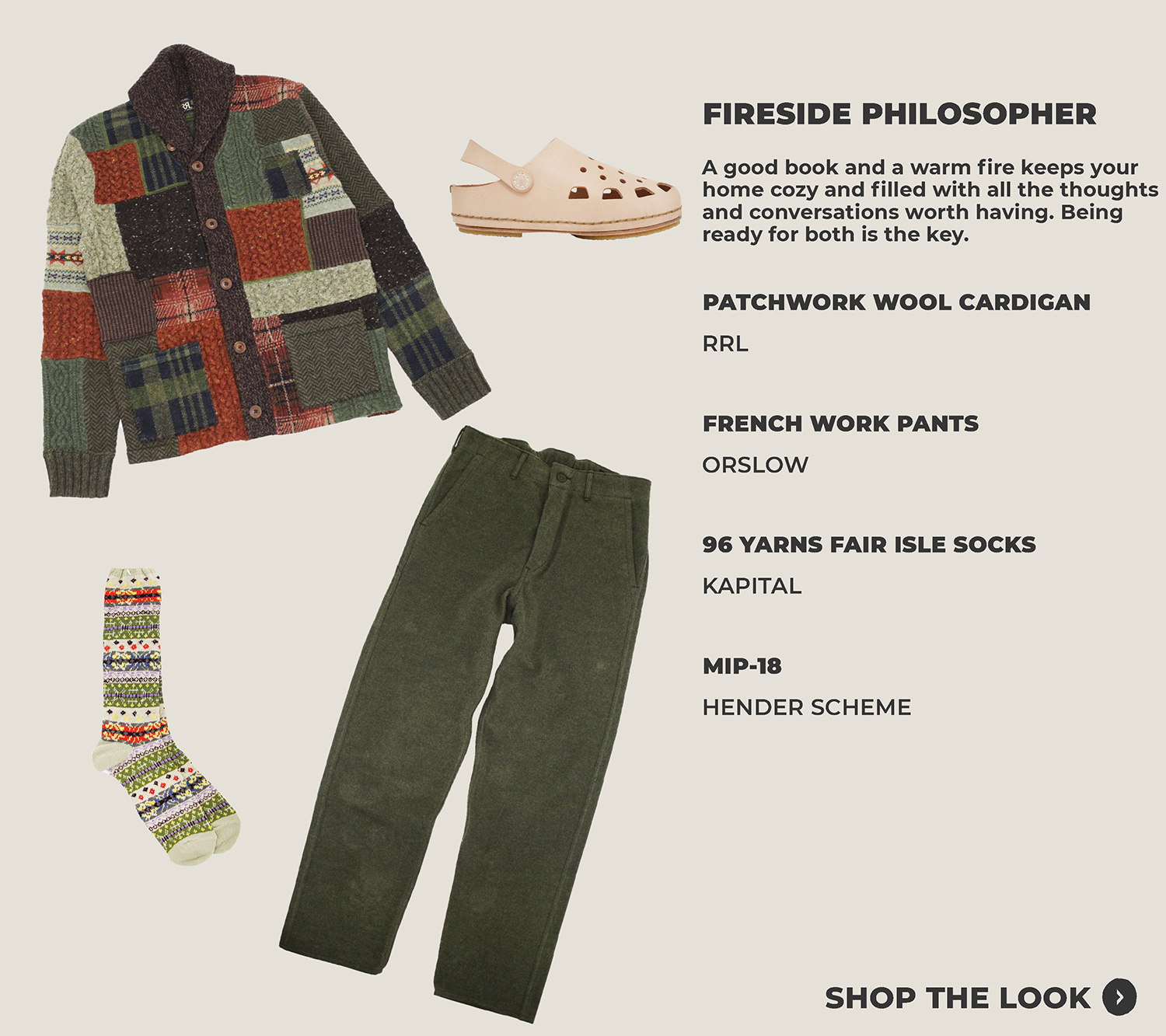look one featuring rrl patchwork cardigan, orslow french work pants, kapital socks and hender scheme mip-18 shoes