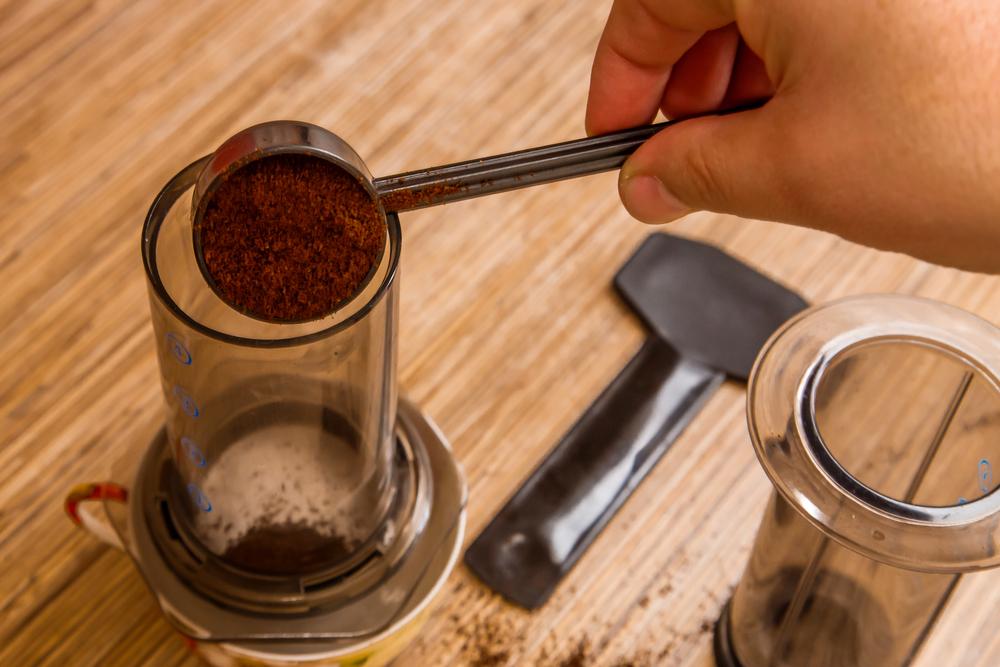 Coffee grounds in Aeropress