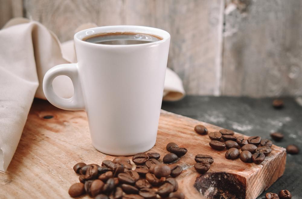 Brewed coffee in a white mug