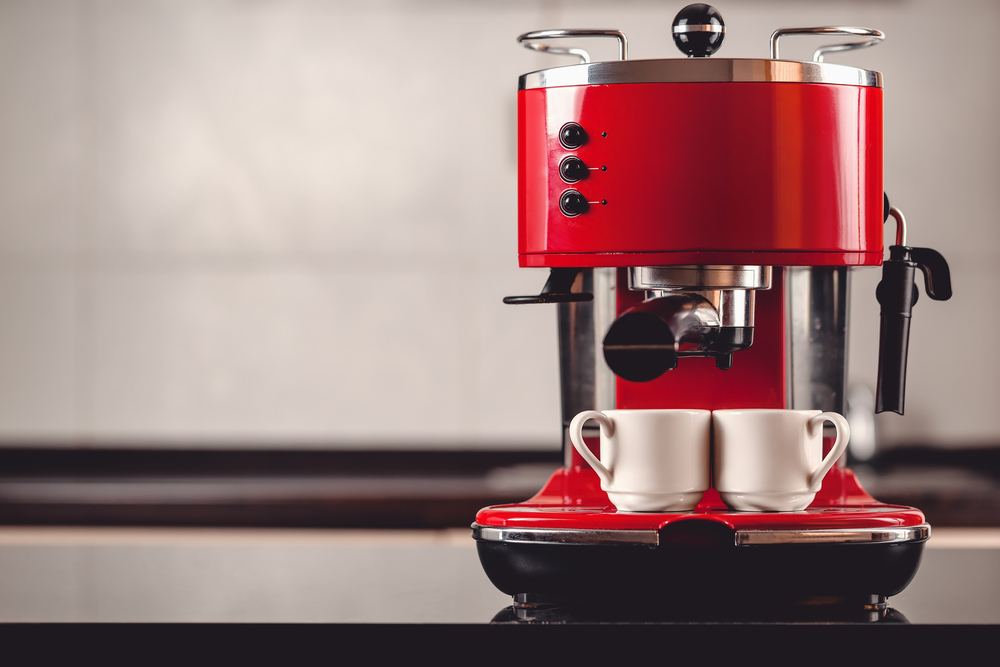 An espresso machine with two cups