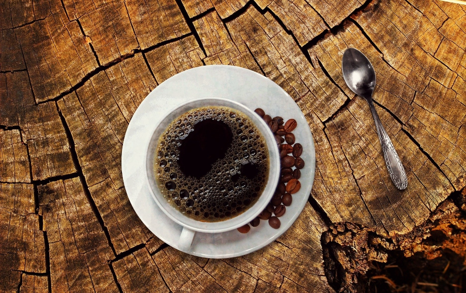 Cup of coffee placed on a surface