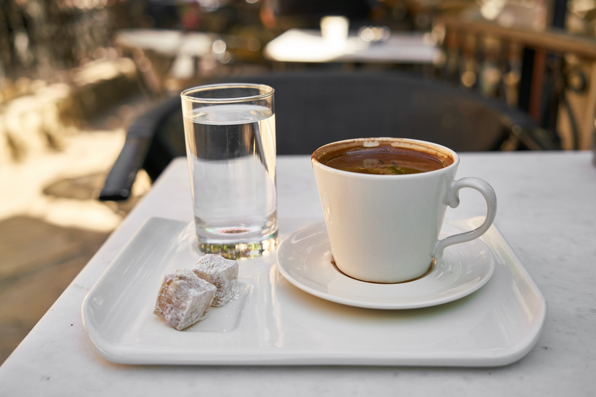 Turkish coffee served with water