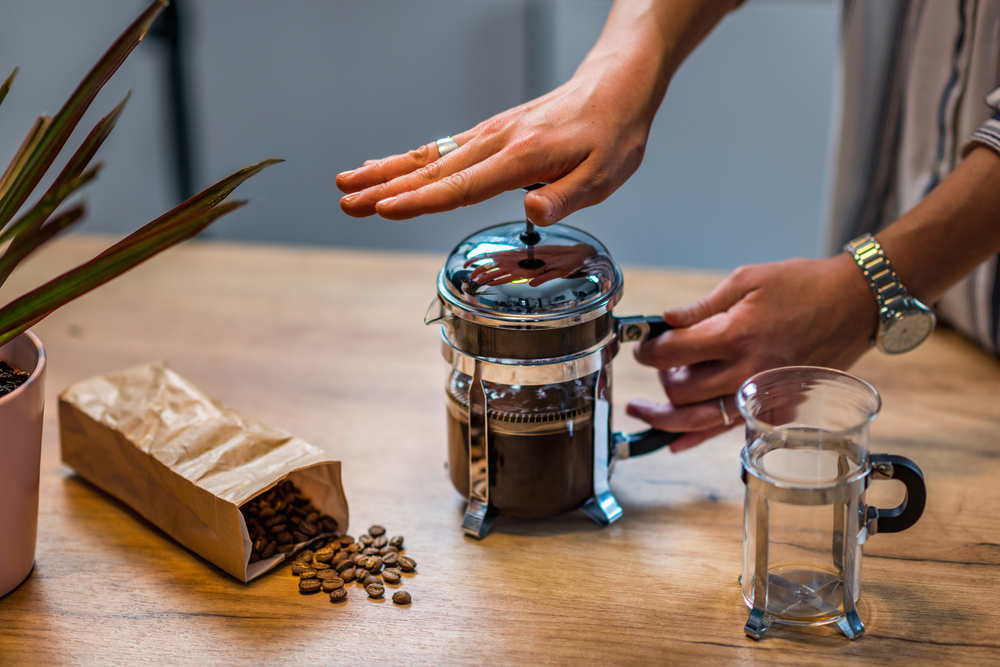 Cold brew made inside a French press
