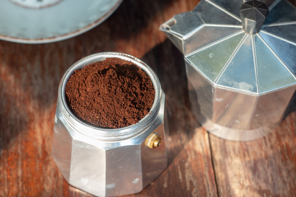 Coffee grounds in a Moka pot