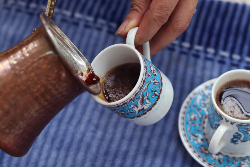 An ibrik used for brewing Turkish coffee