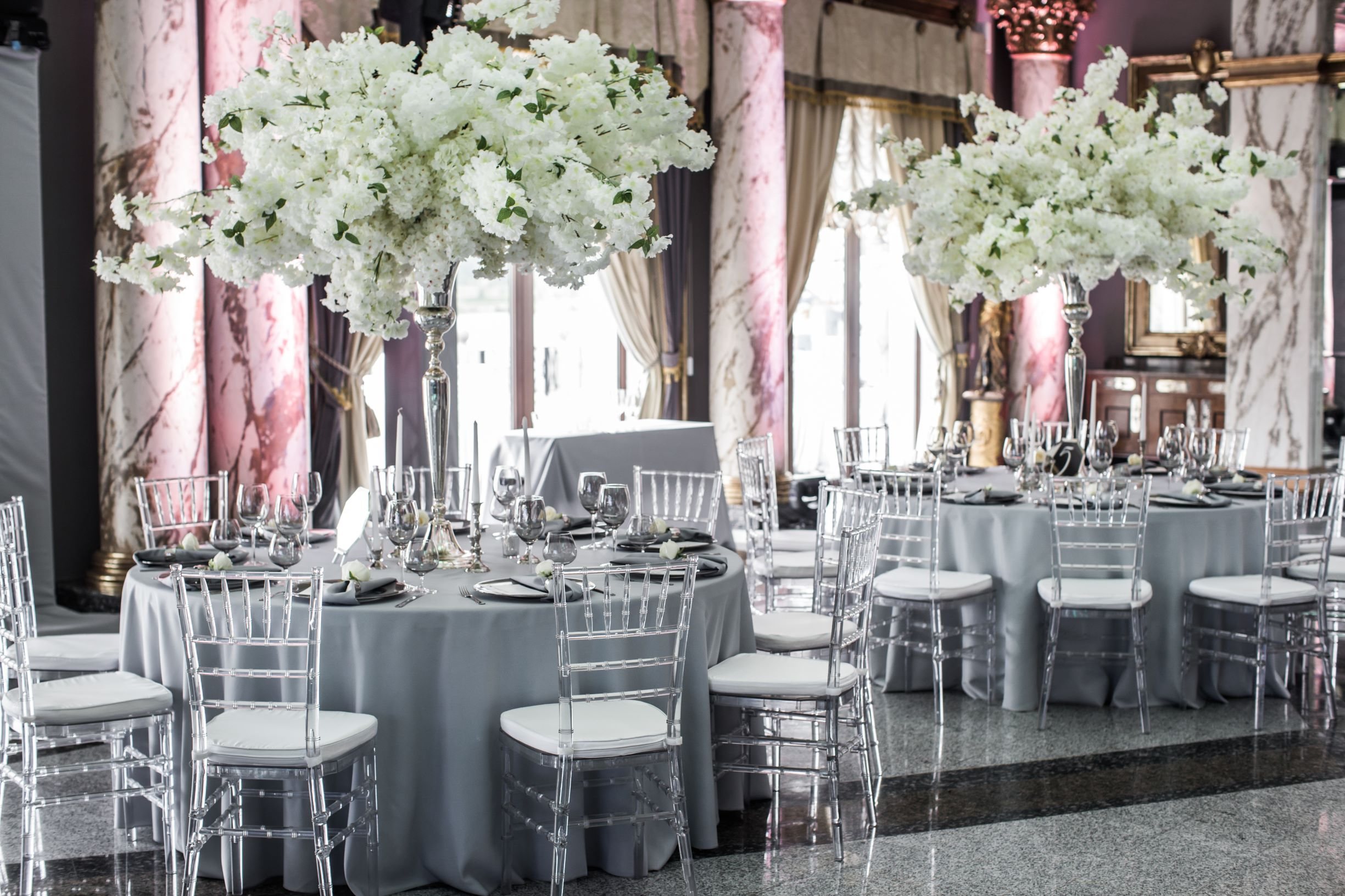 Wedding Table Set-up in Pantone Ultimate Gray