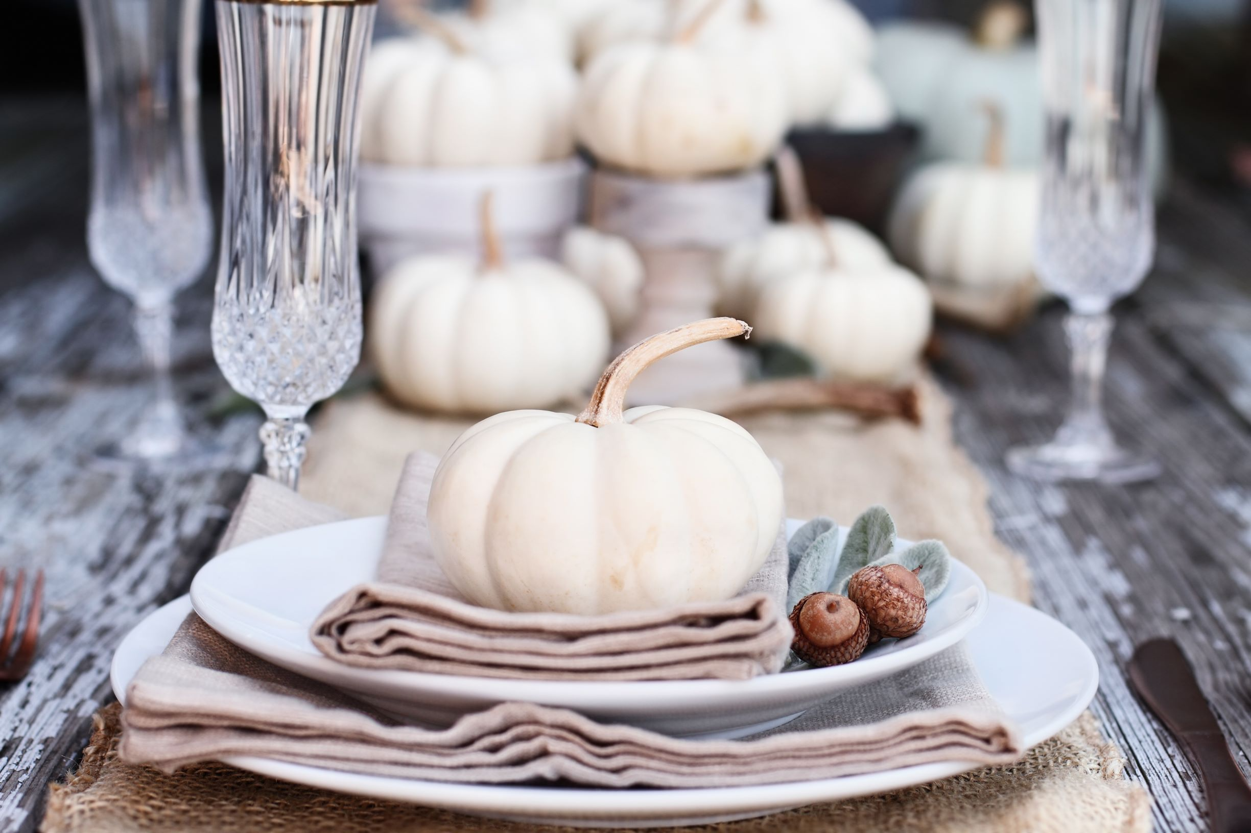 Rustic thanksgiving table with fancy dinnerware.