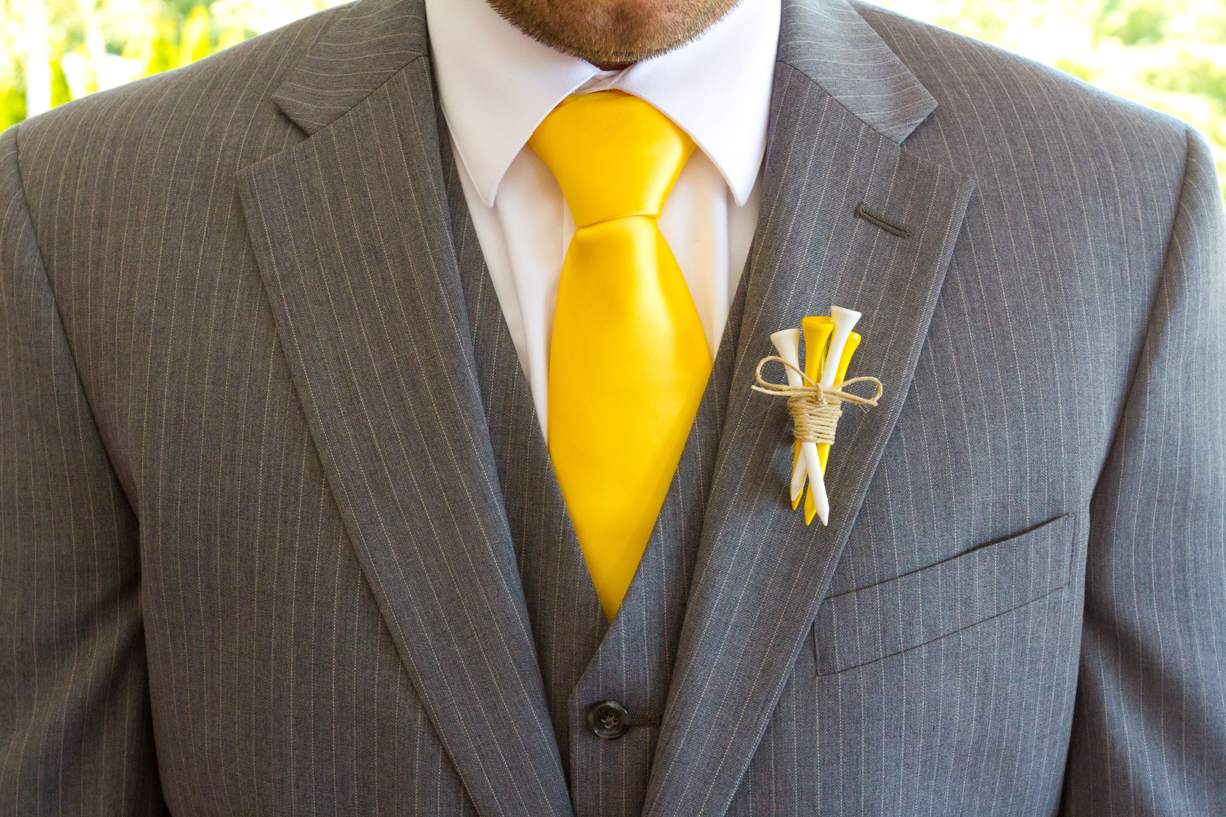 Ultimate Gray Wedding Suit with Yellow Tie