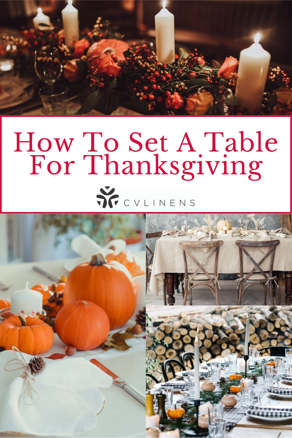 How to set a table for thanksgiving Pinterest pin.