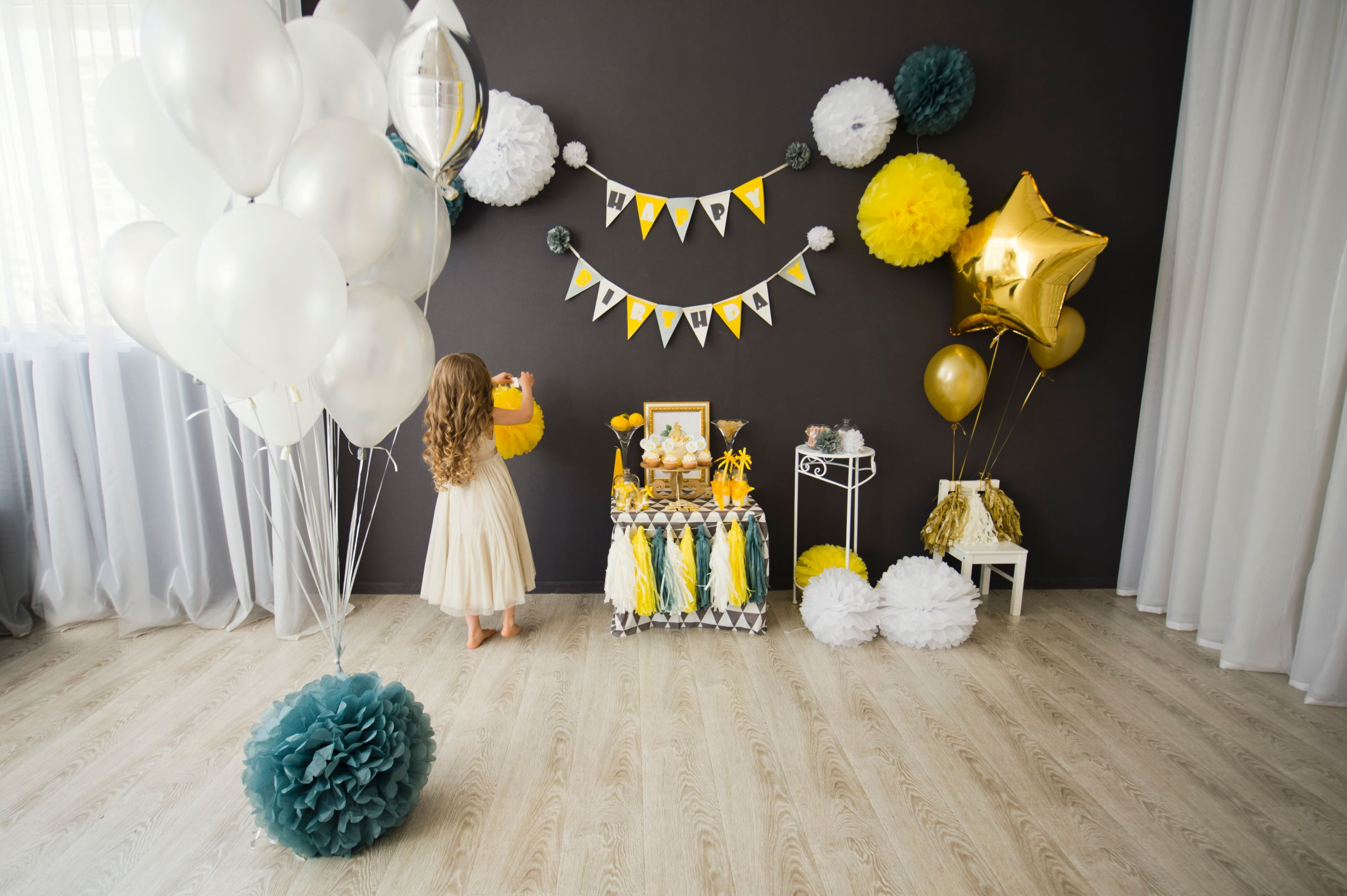 Birthday Decorations in Ultimate Gray and Yellow