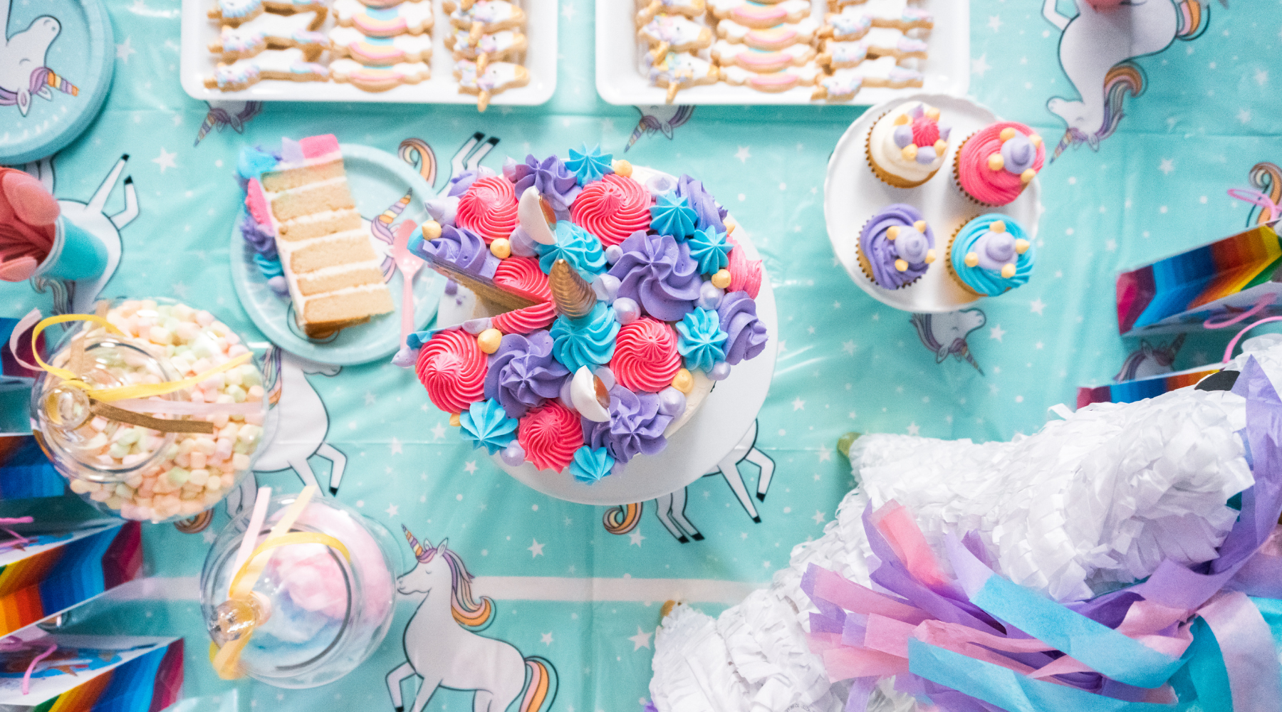 Unicorn-themed tablescape