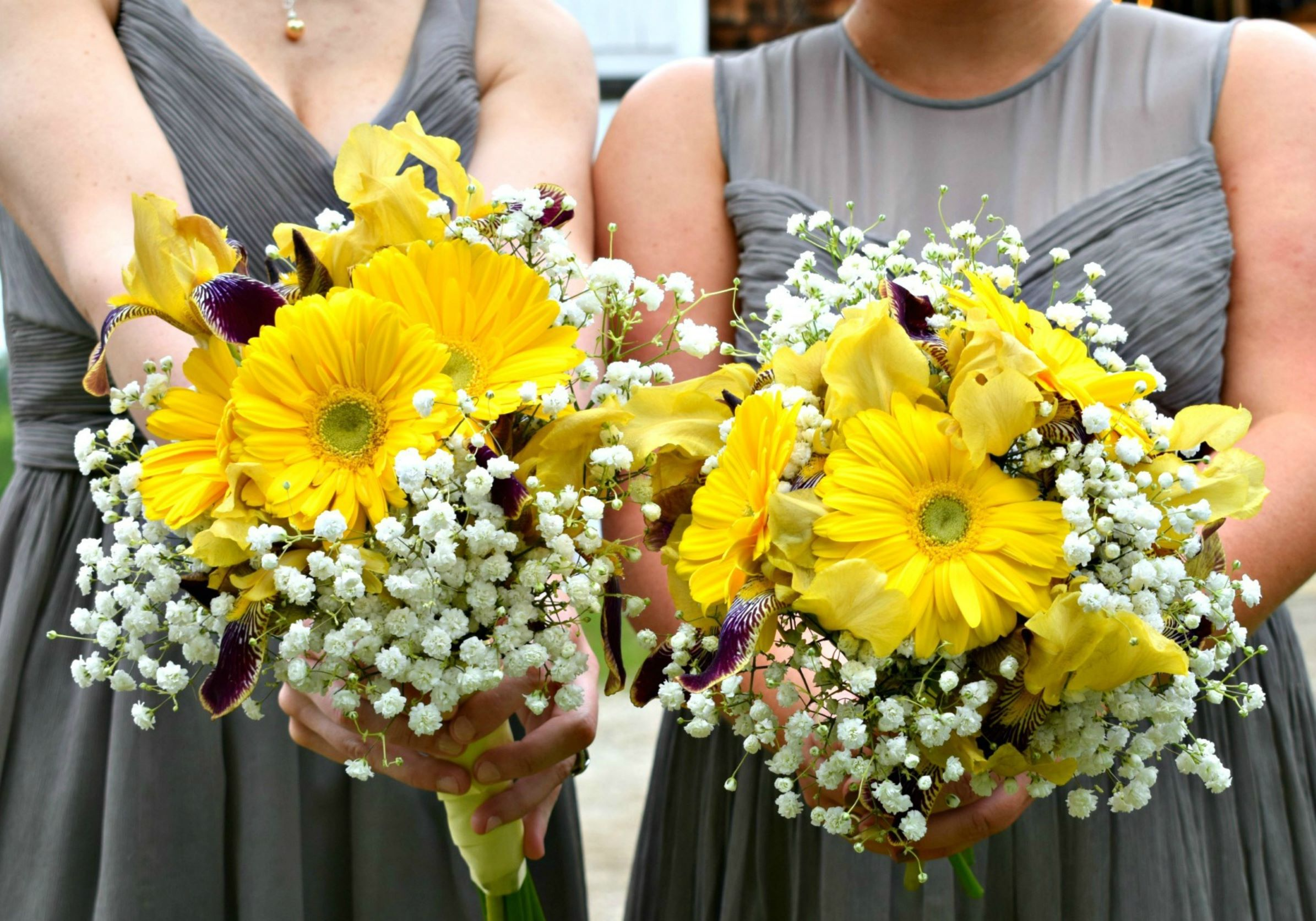Bridesmaids' Gown in Ultimate Gray with Yellow accents