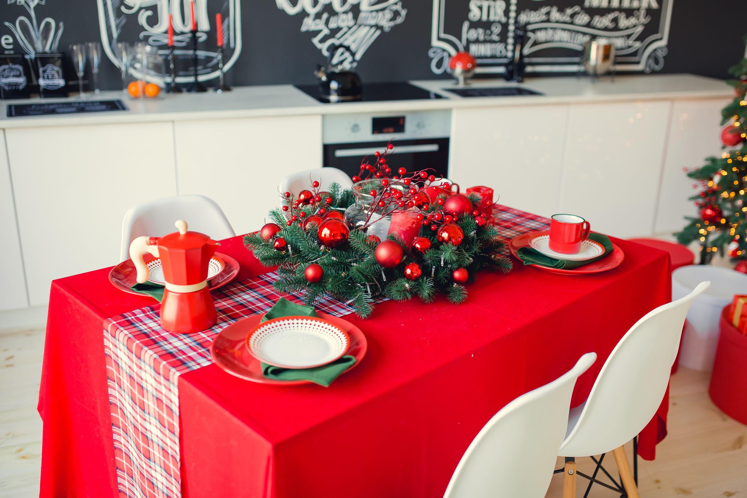 Traditional Christmas table setup.