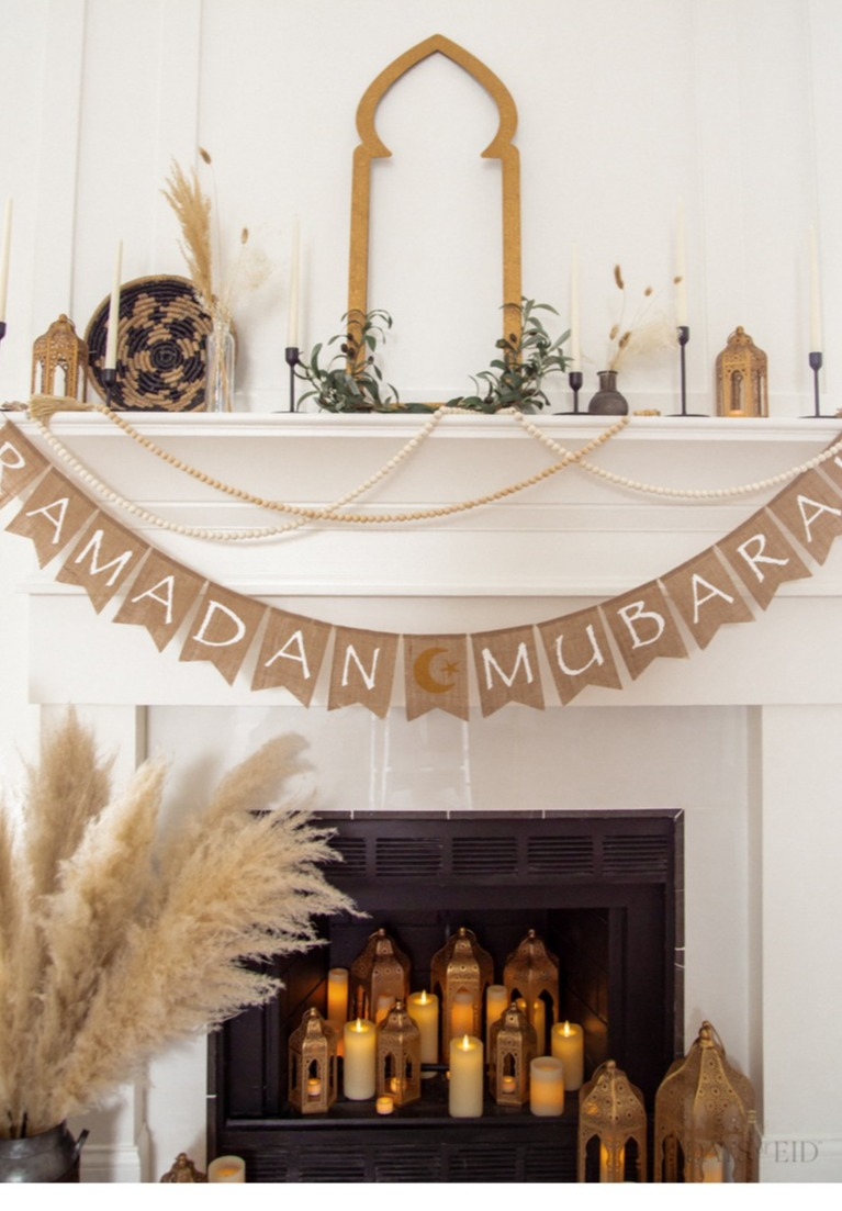 Fireplace Mantle Decorated with Pampas and Moroccan Lanterns