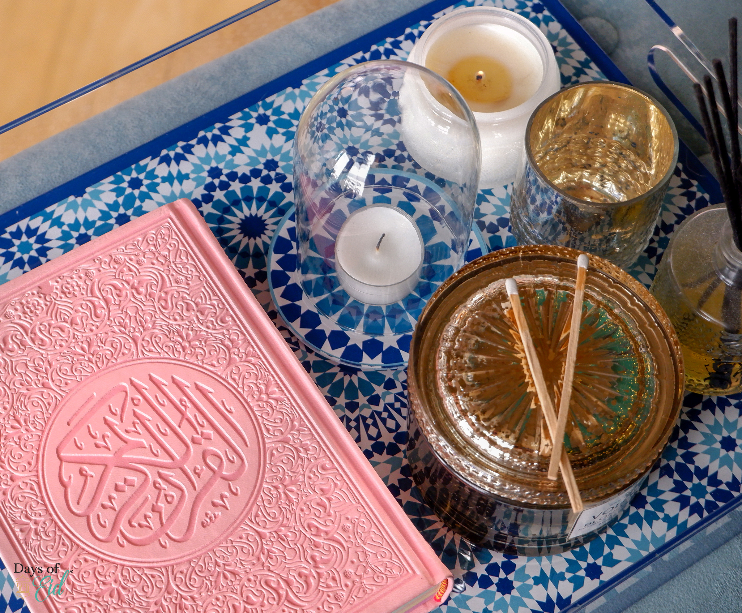 Marrakech acrylic tray  with pink bound Quran and candle accessories