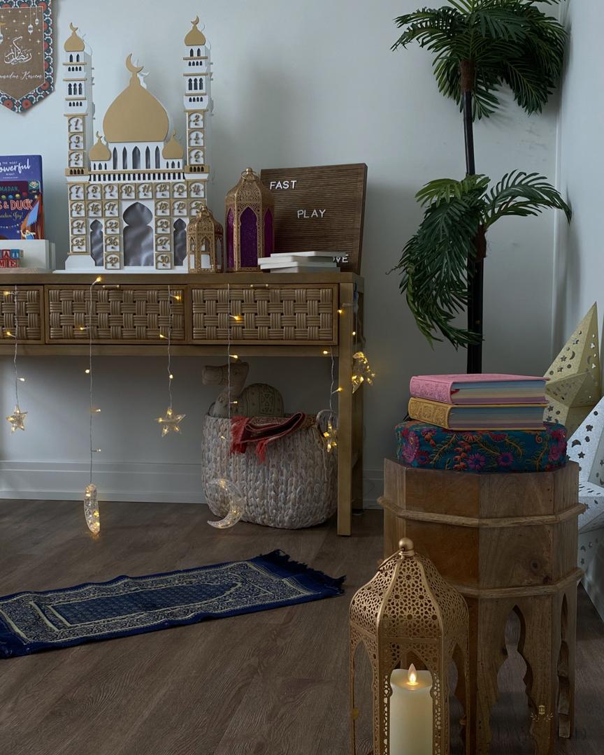 Ramadan Prayer corner with kids decor and countrown calendar
