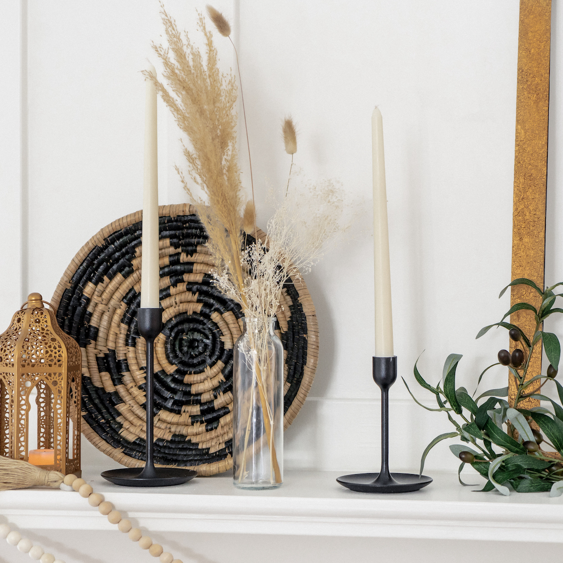 Mantle with wall baskets, Door Decor, and pampas vase
