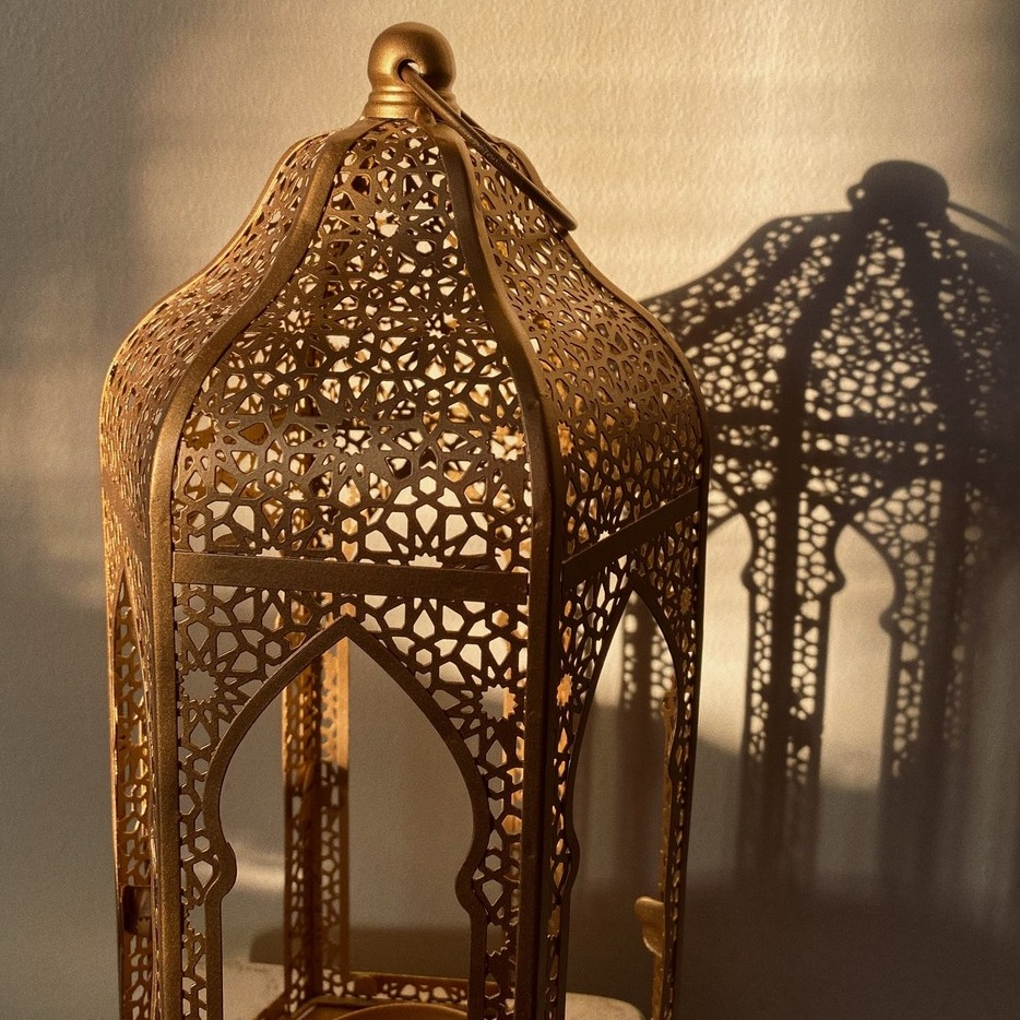 Large Floor Lantern in Golden Hour Light with Shadow