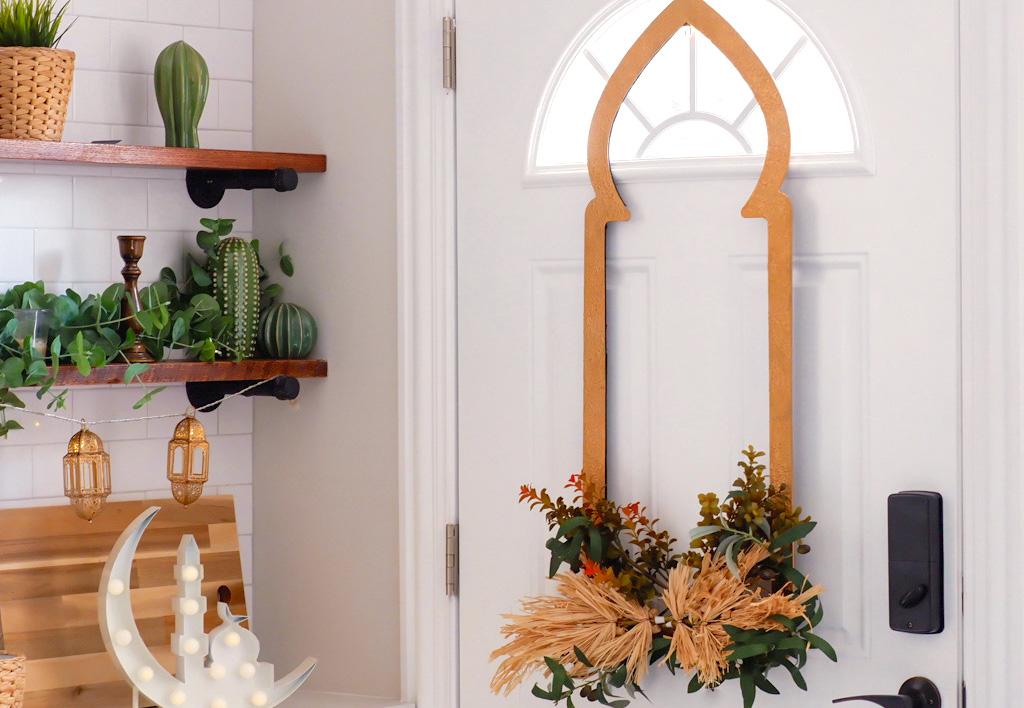 Fall kitchen featuring our door wreath