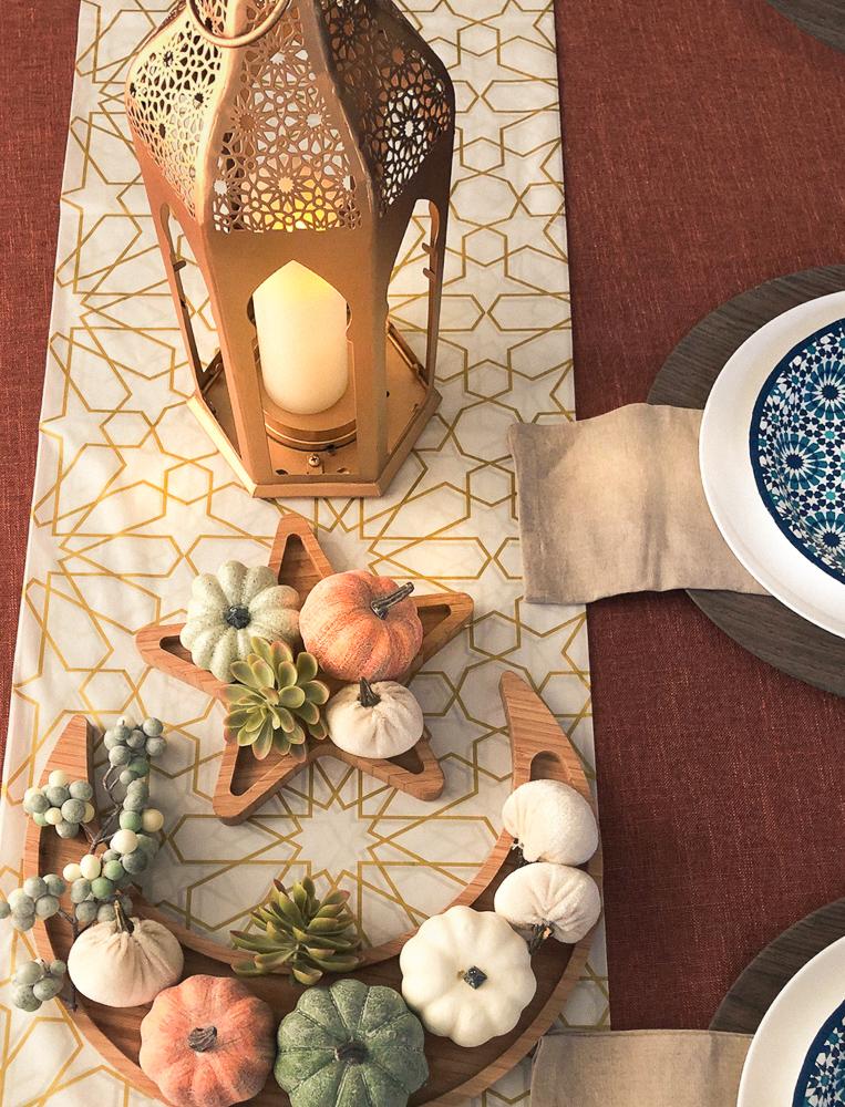 Moon star platter and moroccan floor lanterns