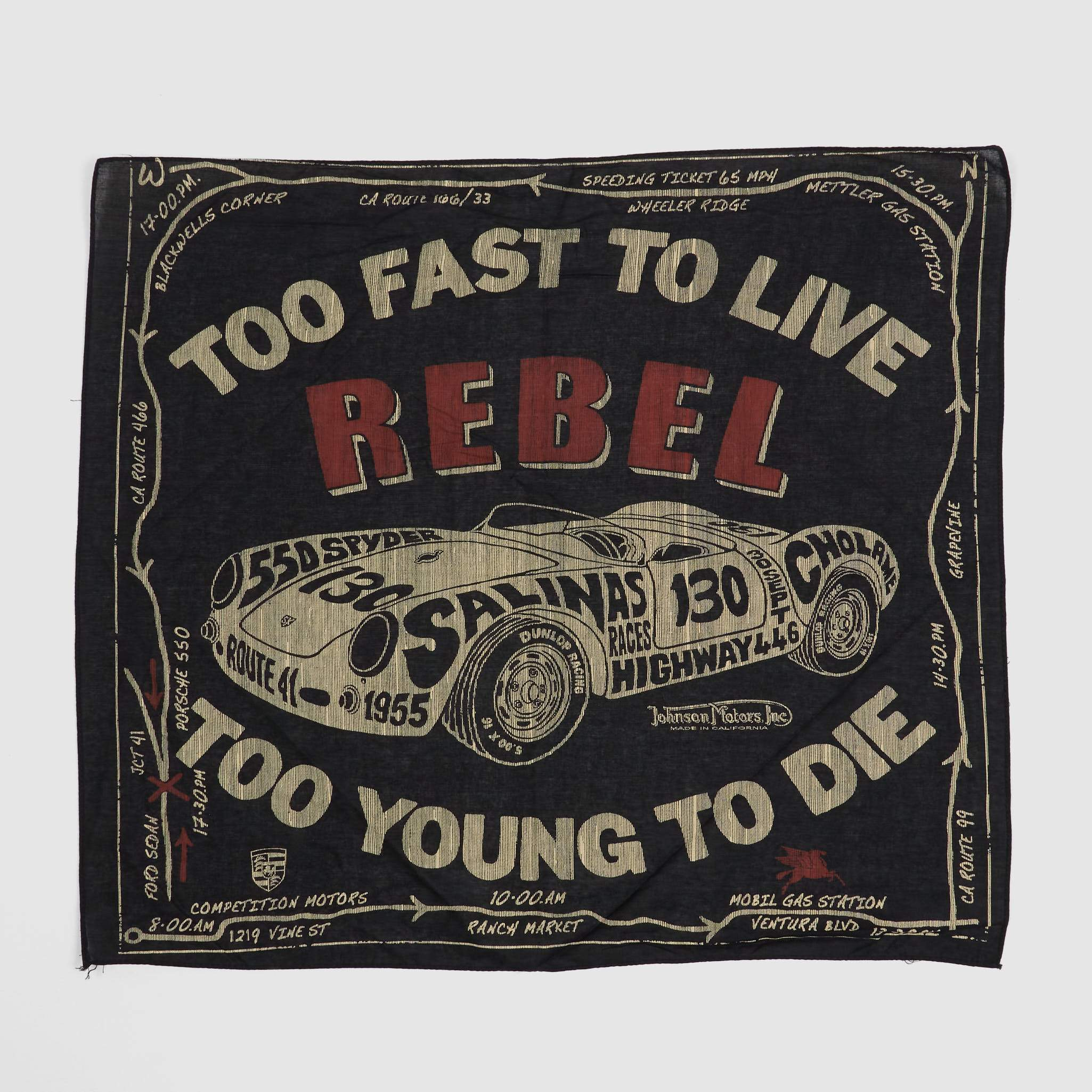 Johnson Motors Inc. Bandana Too Fast to Live Too Young To Die
