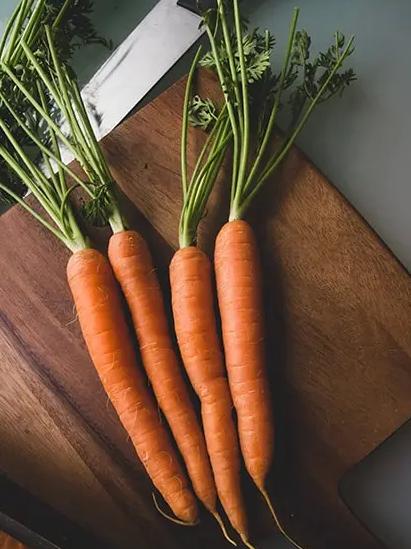 Foto de quatro cenouras enfileiradas em tábua de madeira.