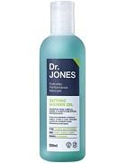 Foto de embalagem do Isotonic Shower Gel, shampoo para barba, cabelo e corpo, da Dr. JONES, frasco azulado.