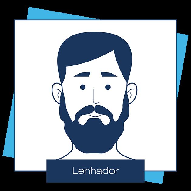 Desenho criado pela Dr. JONES mostra barba estilo lenhador, em artigo sobre modelos de barba para cada formato de rosto.