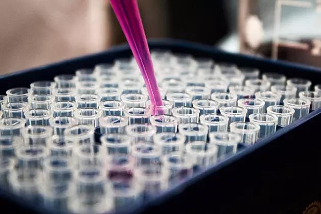 Em artigo sobre alergia e sensibilidade na pele, foto de tubos de ensaio recebendo um líquido despejado por um dispensador rosado.