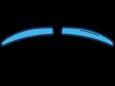 Imagem de desenho estilizado de bigode fino, em azul.