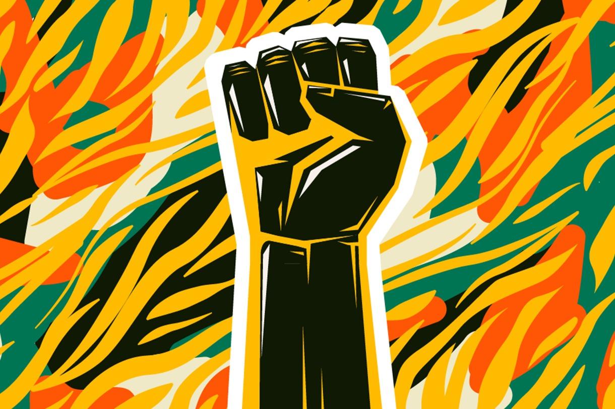 Desenho de mão em cor preta, fazendo símbolo da resistência e do movimento negro. Fundo colorido em amarelo, preto, branco, ciano e laranja.