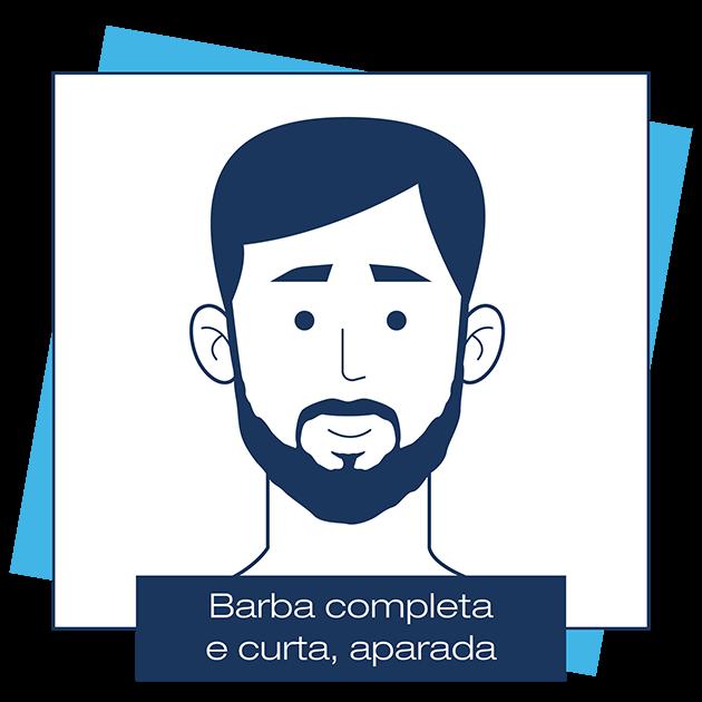 Desenho criado pela Dr. JONES mostra homem de barba completa e curta, aparada, em artigo sobre modelos de barba para cada formato de rosto.