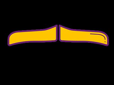 Imagem de desenho estilizado com bigode tradicial (Carlton Banks), em amarelo.
