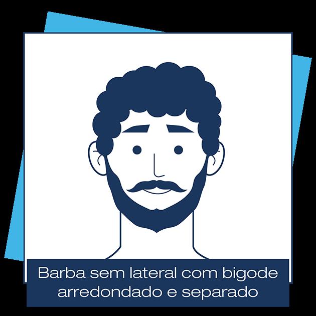 Desenho criado pela Dr. JONES mostra homem com barba sem lateral e bigode separado e arredondado, em artigo sobre modelos de barba para cada formato de rosto.