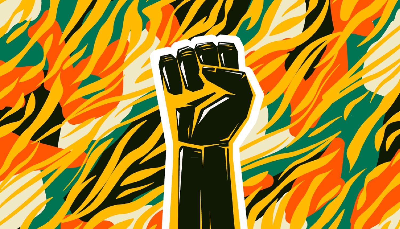 Desenho de mão em cor preta, fazendo símbolo da resistência e do movimento negro. Fundo colorido em amarelo, preto, branco, ciano e laranja faz link para artigo sobre racismo.