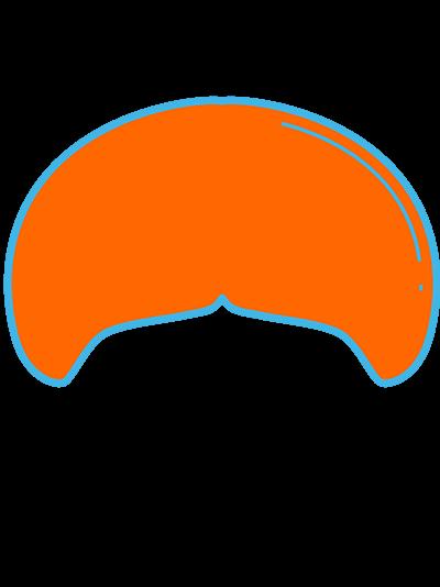 Imagem em laranja, de desenho estilizado de bigode tipo 'leão marinho'.