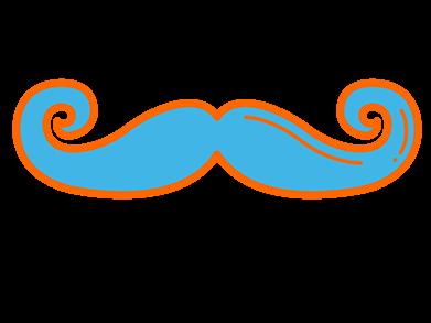 Imagem de desenho estilizado de bigode encurvado para acima, em ciano.