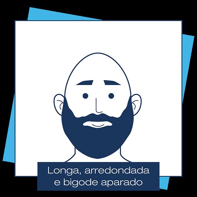 Desenho criado pela Dr. JONES mostra homem careca, com barba longa, arredondada e bigode aparado, em artigo sobre modelos de barba para cada formato de rosto.