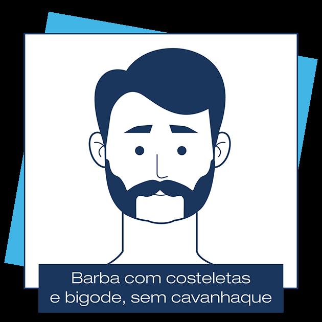 Desenho criado pela Dr. JONES mostra barba que mantém costeleta esquerda e direita e bigode, mas sem cavanhaque, em artigo sobre modelos de barba para cada formato de rosto.