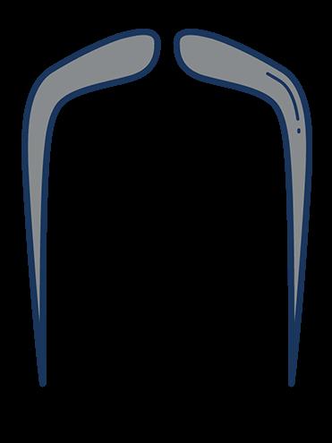 Imagem de desenho estilizado de bigode tradicional chinês, muito longo, estilo Fu Manchu, em cinza.