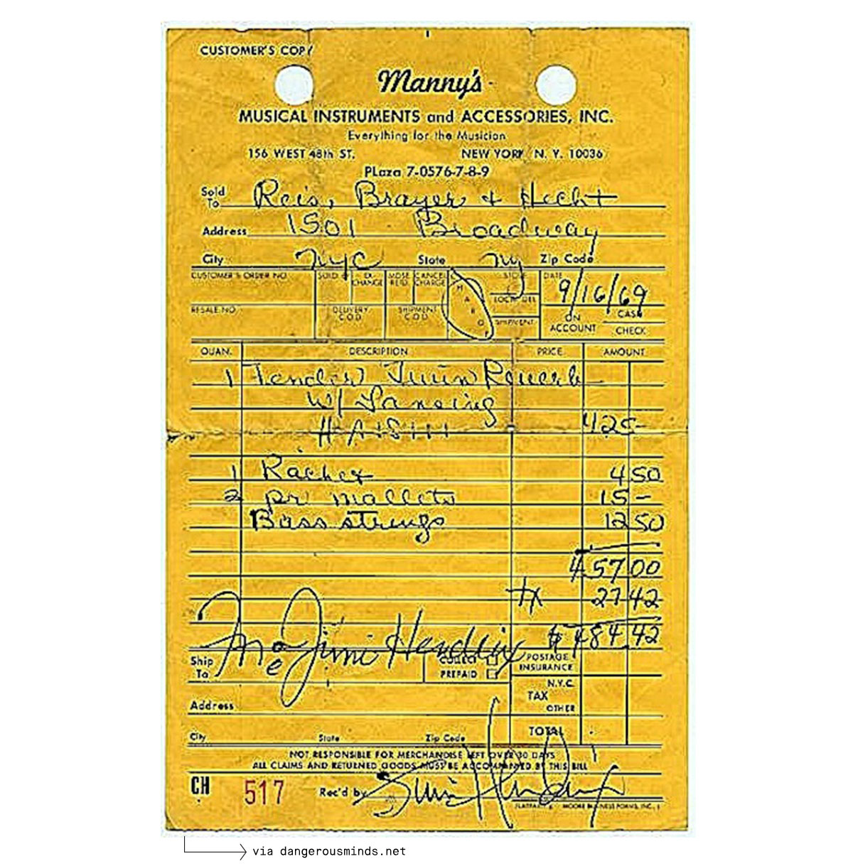 Manny's store receipt - Jimi Hendrix