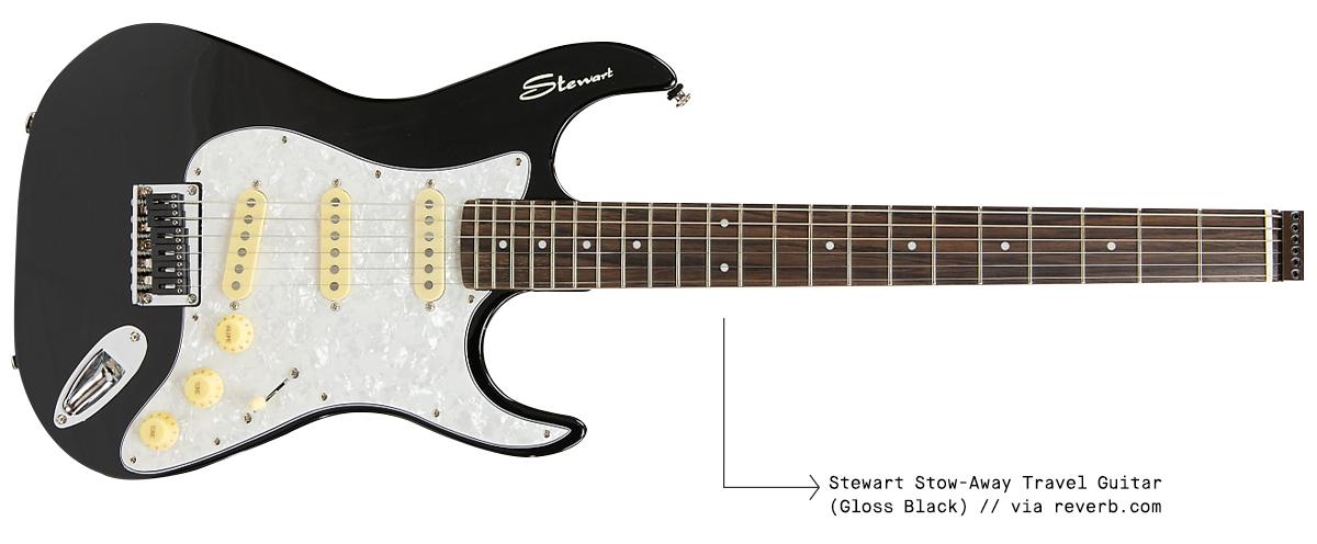 Stewart Stow-Away Travel Guitar - Gloss Black