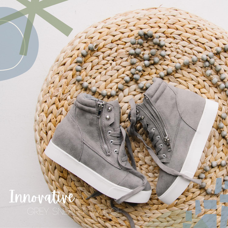 Grey Wedge Sneakers
